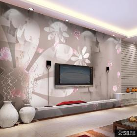 现代客厅电视背景墙壁纸装修效果图