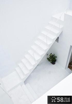 极简白色楼梯设计