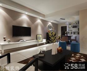 现代客厅电视机背景墙装饰效果图欣赏