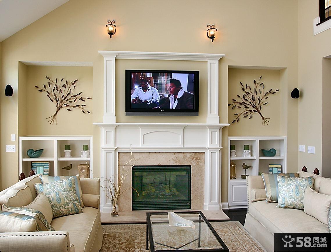 北欧时尚10平米客厅电视背景墙图片