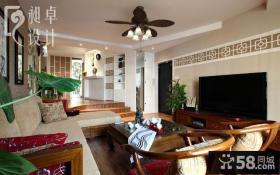 中式家装客厅电视背景墙装修设计图