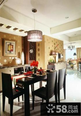 中式现代风格别墅室内餐厅装修图片