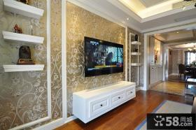 现代复古电视背景墙设计装饰效果图