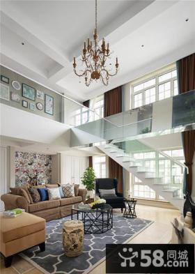 宜家复式房屋挑高客厅装修图片欣赏