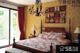 东南亚风格卧室壁纸背景墙效果图