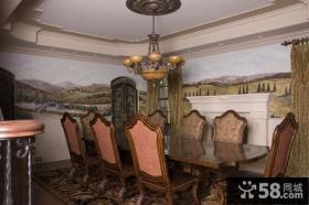 美式风格餐厅壁画效果图