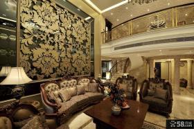 欧式古典风格豪华别墅客厅仿古背景墙装修