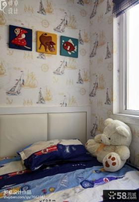 地中海卧室墙纸效果图