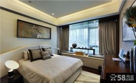 中式风格主卧室飘窗装修效果图