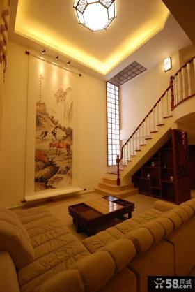中式风格别墅挑高客厅装修效果图