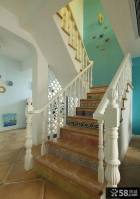 地中海别墅楼梯装修设计图片