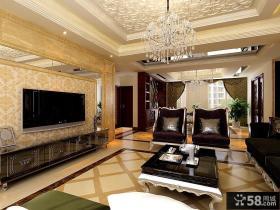 欧式风格三居装修效果图客厅电视背景墙图片