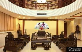 中式复式楼客厅太师椅图片