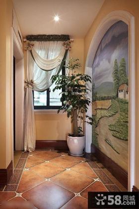 美式风格走廊手绘墙画效果图