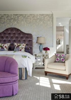 欧式简约卧室壁纸装修效果图