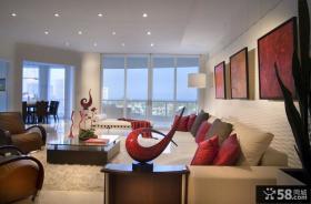 现代简约风格房屋装修客厅沙发背景墙图片