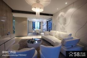 简约风格客厅沙发背景墙墙绘图片