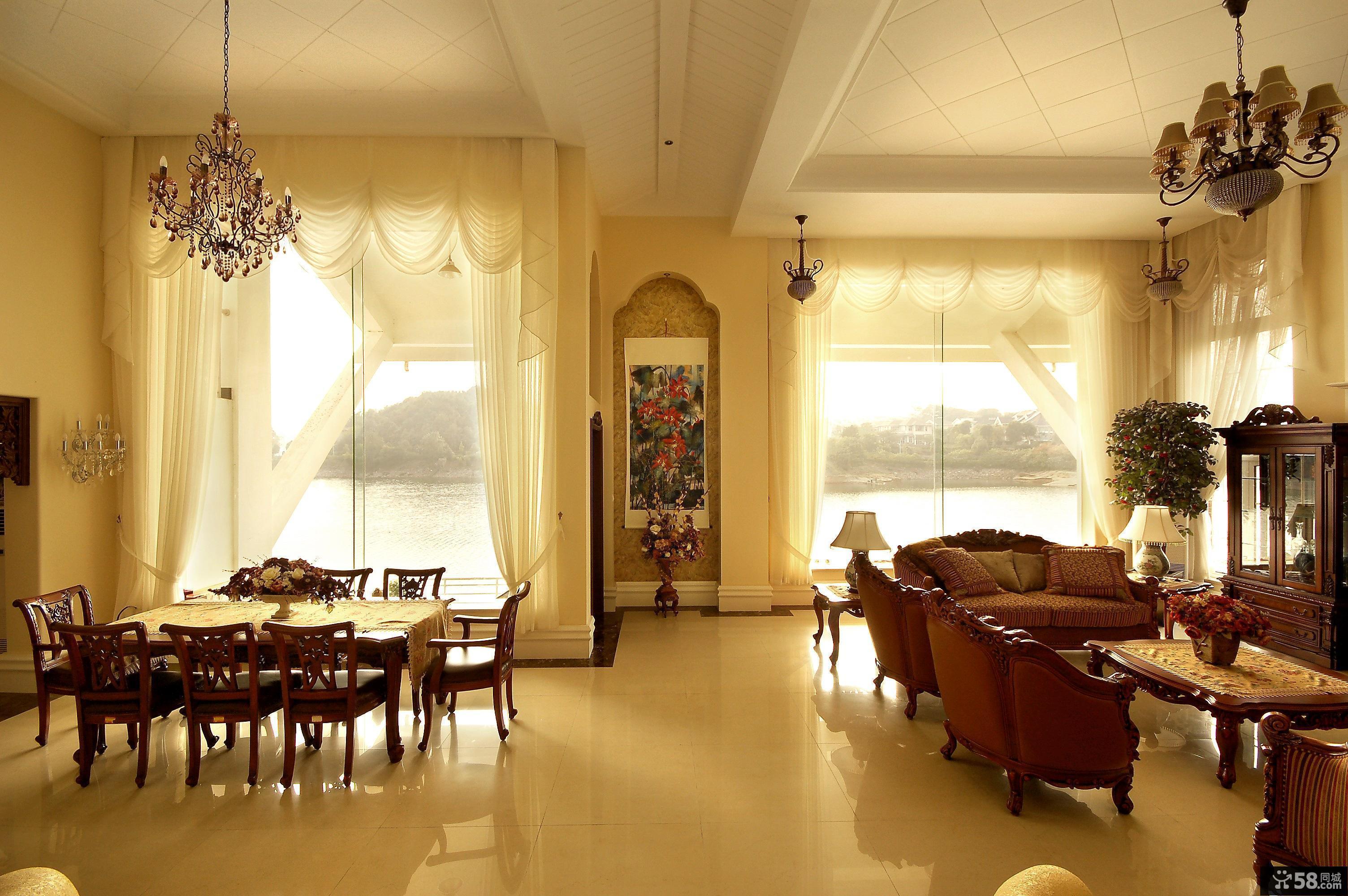 欧式风格别墅客厅餐厅装修图片图片