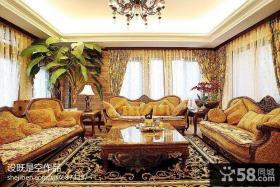 美式别墅客厅家具图片