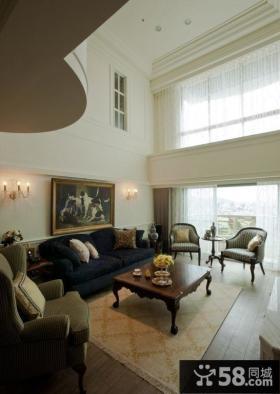 简欧复古复式家居客厅设计效果图