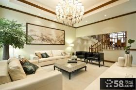 新中式复式楼客厅装修效果图