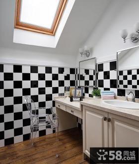 复式阁楼卫生间墙面瓷砖装修效果图