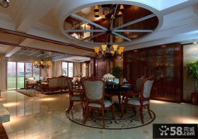 美式客厅餐厅一体设计效果图