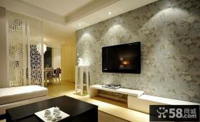 新中式电视背景墙壁纸图片