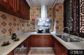 U型厨房大理石橱柜台面效果图