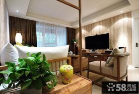 中式风格客厅壁纸电视背景墙装修