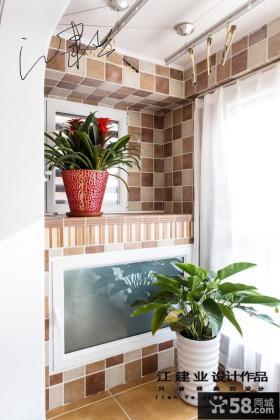 室内生活阳台墙砖效果图