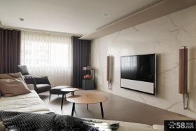 简约风格客厅大理石电视背景墙装修图