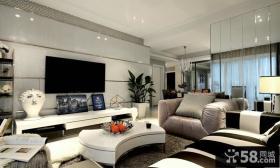 后现代风格80平米二居客厅电视背景墙效果图