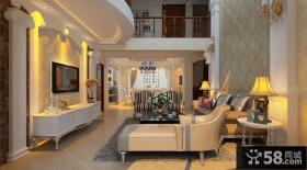 复式楼客厅壁纸电视背景墙设计