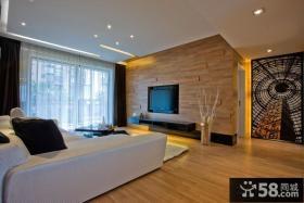 现代二居婚房客厅木质电视背景墙效果图