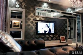 现代家庭客厅电视背景墙装修效果图