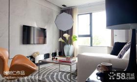 现代70平米小户型客厅瓷砖电视背景墙效果图