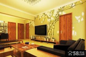 日式装修设计客厅电视背景墙图片大全