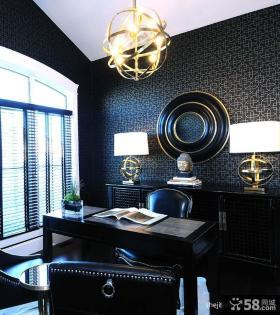 现代风格复式楼黑色书房背景墙装修