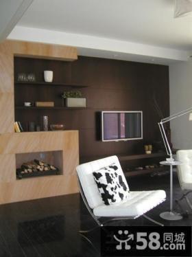 小复式暗色调客厅室装修效果图大全2014图片