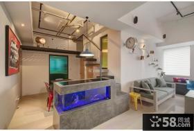 简约创意复式室内鱼缸效果图