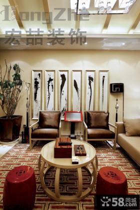 现代中式两室两厅客厅装修图