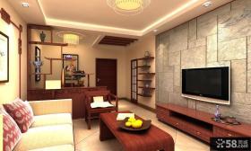 简约小户型客厅大理石电视背景墙装修效果图