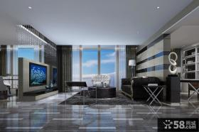 后现代别墅客厅电视背景墙装修效果图