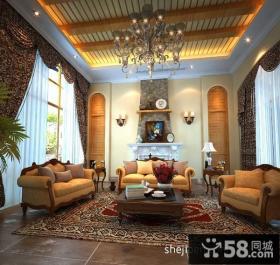 欧式古典别墅客厅电视背景墙装修效果图