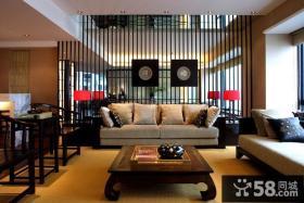 中式别墅大客厅沙发隔断背景墙