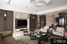 简约中式客厅嵌入式电视背景墙装修效果图