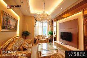 奢华欧式客厅硬包电视背景墙装修效果图