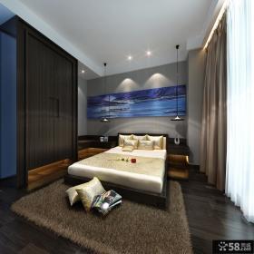 中式风格卧室黑色衣柜设计