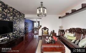 四居室家装中式客厅电视背景墙图片